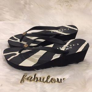 COACH black and white rubber flip flop sandals